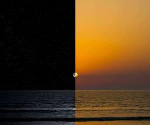 sunset, moon, and sun image
