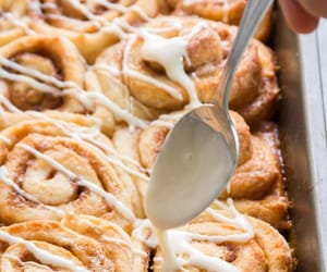 cinnamon rolls, food, and vegan image