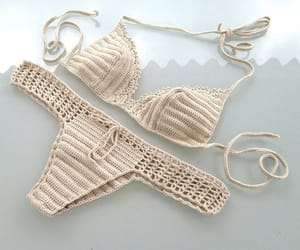 bathing suit, crochet bikini set, and beachwear image