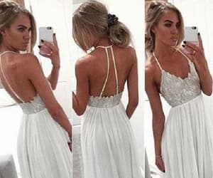 white party dress, long party dress, and simple party dress image