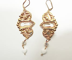 etsy, lever back earrings, and upcycledjewelry image