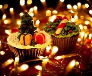 christmas, cupcake, and light image