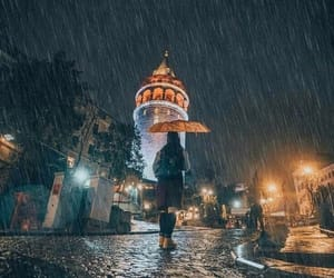 rainyday, galata tower, and İstanbul-turkey image