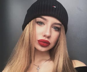 blonde, girl, and lips image