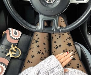 car, girl, and stars image