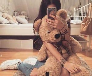 fashion, girl, and teddy image