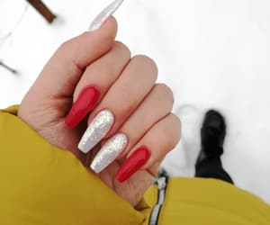 nails, red, and snow image