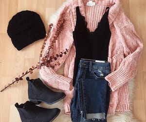 booties, style, and cardigan image