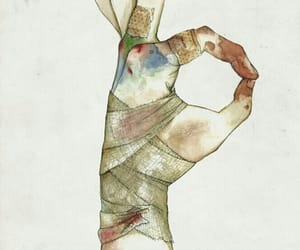 art, hand, and bruise image