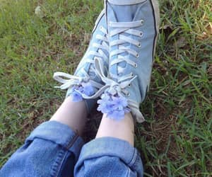 blue, converse, and flowers image