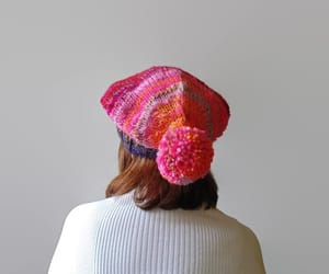 etsy, pom poms, and wool hat image