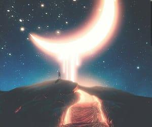 moon, sky, and stars image