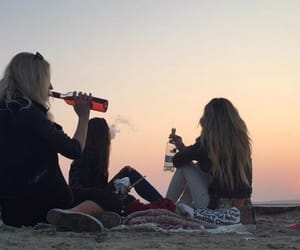 beach, sunset, and drink image