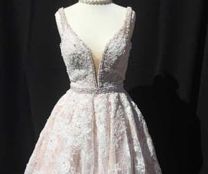 a-line homecoming dress, v-neck homecoming dress, and homecoming dress lace image