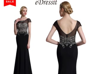 short sleeves, beaded prom dress, and lace evening dress image