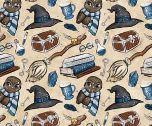 background, pattern, and hogwarts image