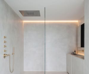 bathroom, gold, and white image