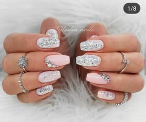 nails, pink, and grey image