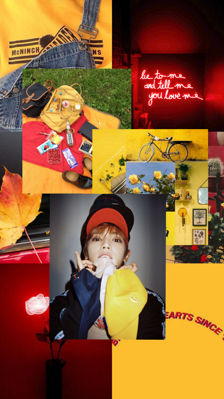 Nct Taeyong Wallpaper Aesthetic Red Yellow Blue