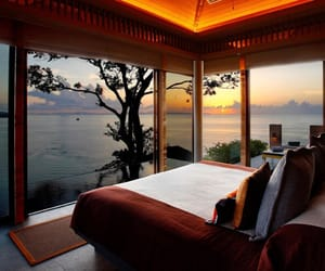 bed and beautiful view image