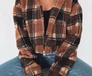 brown, jacket, and plaid image