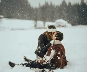 snow, love, and couple image