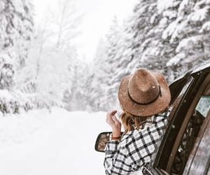 snow, winter, and hat image