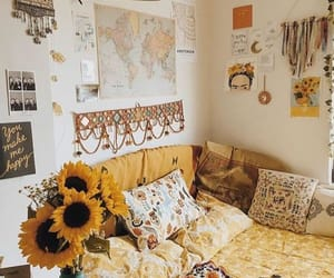 home, bedroom, and sunflower image