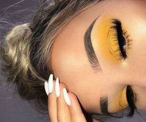 makeup, yellow, and nails image