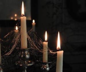 candle, cobweb, and dark image