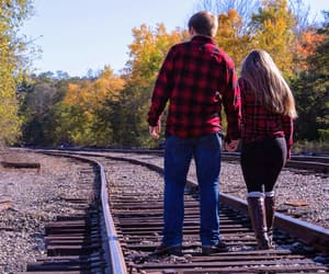 couple, fall, and scenery image
