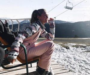 girl, pink, and Skiing image