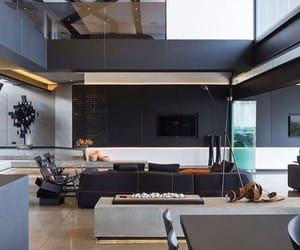 black, interior, and modern living room image