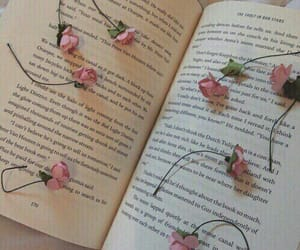 book, words, and flowers image