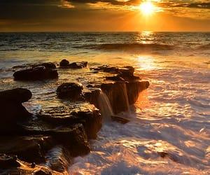 nature, sunset, and rocks image