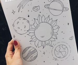 drawings, planet, and sun image