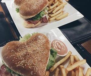 food, heart, and hamburger image
