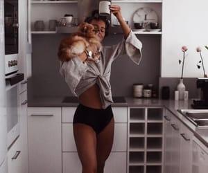 girl, home, and dog image
