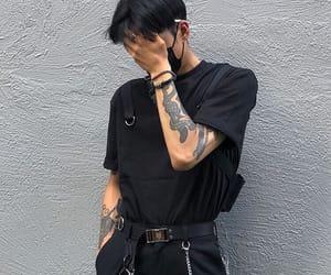 boy, tattoo, and black image