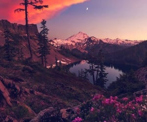 nature, sunset, and mountains image