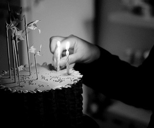 alone, cake, and birthday candles image
