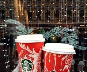Christmas time, coffee, and lights image