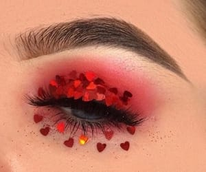 makeup, red, and eyebrows image