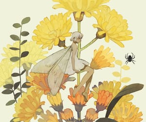 fairy, illustration, and yellow flower image