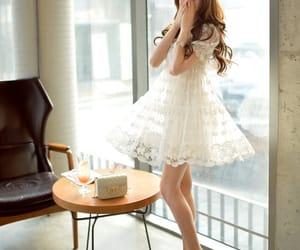 dress, glamour, and wedding image