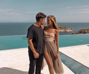 beach, couple, and dress image