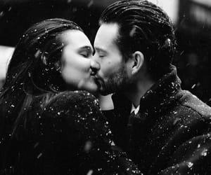 kiss, couple, and snow image