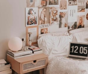 bed, bedroom, and bedside table image