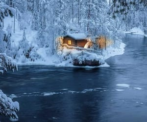 amazing, cabin, and snow image