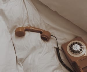 bed, phone, and vintage image